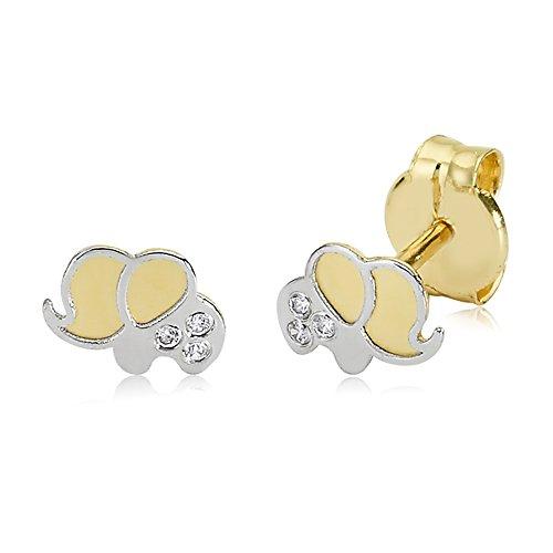Kinderohrringe Ohrstecker ECHT GOLD 375 9 Karat Gelbgold Weißgold Kinderohrringe Elefant Childs Girls Kinderschmuck