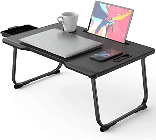 Foldable Laptop Table Laptop Bed TrayLaptop Desk for Bed with Storage DrawerampHandle amp Desktop Card Slot amp Cup Slot for Eating Working Writing Gaming Drawing