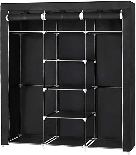 Großer Kleiderschrank, Stoffschrank XXL Faltschrank mit 2 Kleiderstange, 175 x 150 x 45 cm, mit DREI hochrollbaren Türen, schwarz platzsparend