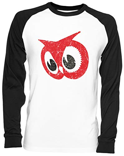 Rojo Búho Blance Camiseta De Béisbol Unisex Tamaño S White Baseball tee Tshirt Unisex Size S