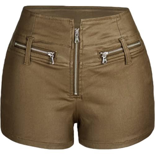 Pantalones Cortos para Mujer, Ropa de Calle de Cintura Baja, Espalda Cruzada, Cintura Alta, Cremallera,...