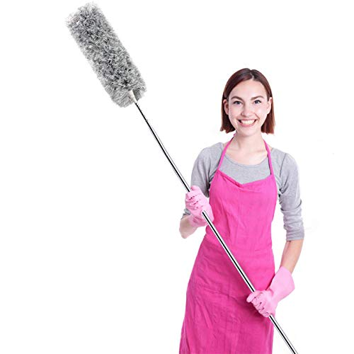 Microfiber Duster for Cleaning with Telescoping Extension Pole(Stainless Steel) 30 To 100' Extendable Long Duster for Cleaning High Ceiling Fan,Blinds, Baseboards,Cars