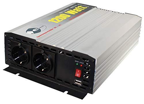 Wechselrichter/Spannungswandler/Inverter modifizierter-Sinus 12 V DC/230 V AC 50 Hz - 1.200 Watt Dauerleistung, 2.400 Watt kurzfristige Spitzenleistung, USB (1 ST)
