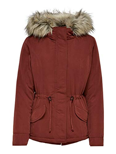 ONLY Damen Winterjacke Onlnew Lucca mit Fell-Kapuze 15205715 Fired Brick S