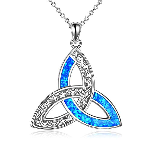POPLYKE Celtic Knot Necklace for Women Sterling Silver Created Blue Opal Pendant Irish Infinity Love Jewelry Gifts for Girls (Blue)