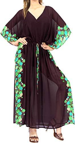 LA LEELA vrouwen dames chiffon Kaftan tuniek 3D HD gedrukt kimono vrije maat lange maxi party jurk voor loungewear vakantie nachtkleding strand elke dag jurken B