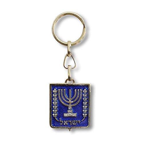 My Daily Styles - Portachiavi con bandiera israeliana Menorah a due lati, colore: blu e rosso
