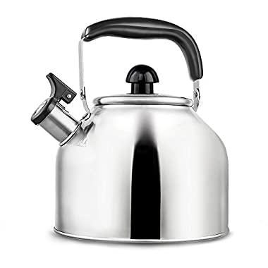 Whistling Tea Kettle - Surgical Stainless Steel Teapot for Stove Top - 3.7L/4Qt