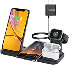 Bestrans Wireless Charger for Apple, 4 in 1 Wireless Charging Station for Apple Watch 5/4/3/2/1, Airpods Pro/2/1, iPhone 11/11 Pro/11 Pro Max/XS/Xs Max/XR/X/8/8 Plus, ABS with Silicone Oil Coating
