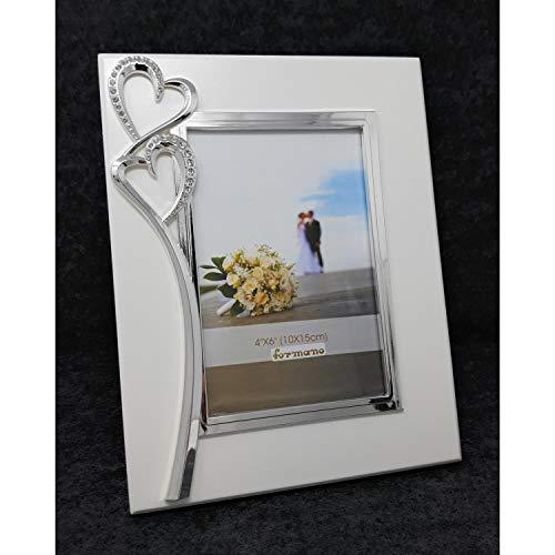 formano Fotorahmen, Bilderrahmen Hearts Herzen für 10x15cm weiß Silber