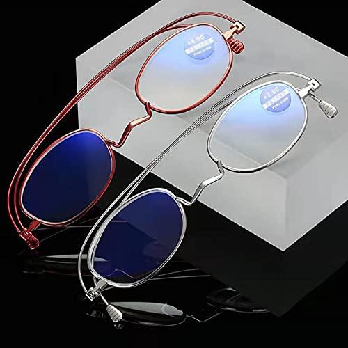 PYAN Gafas de Lectura con Armazón de Metal,Gafas de Lectura Bifocales,Lente HD Anti-Azul,Ligeras y Cómodas,Montura Ovalada Retro,Unisex,Presbicia,Ancianos,Reduce la Fatiga Ocular