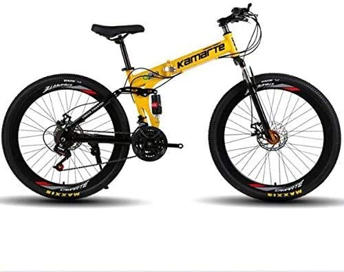 Bycicles adult bike Folding Mountain Bike With 21/24/27 Speed To Choose | Dual Shock-Absorbing Off-Road City Road Bikes For Unisex Adult ,26in trek road bike (Color : Yellow, Size : 21 speed)