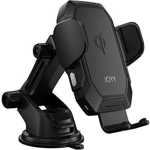 JOYY車載Qiワイヤレス充電器ホルダー【QI認証済み】自動開閉7.5w/10wQi急速充電360度回転片手操作エア吹き出し口ワイヤレス充電器ホルダー粘着式&吹き出し口2種類取り付き対応iPhone11/11Pro/11ProMax/XsMAX/XS/XR/X/8/8+,AndroidSamsungGalaxyS10/S10+/S9/S9+/S8/S8+