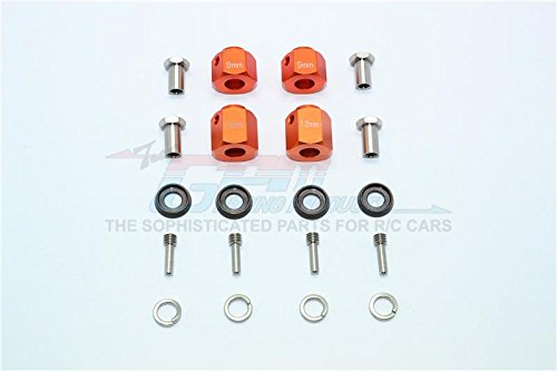 GPM Traxxas TRX-4 Trail Defender Crawler Aggiornamento Parti Aluminium Hex Adapters 9mm & 12mm Thick - 20Pcs Set Orange