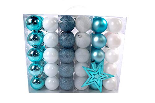 Lifestyle & More Christmas Baubles Set de Boules de Sapin de Noël 61 pièces avec Uniquement de Grosses Boules Ø 6 cm en Blanc/Bleu y Compris Une étoile et des pendentifs Assortis