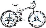 WJJH Bicicleta 26 Pulgadas de Bicicletas de montaña Plegable para Hombres y Mujeres, de Peso Ligero 21 Velocidad del Camino de MTB Bicicleta con Doble Freno de Disco,Blanco