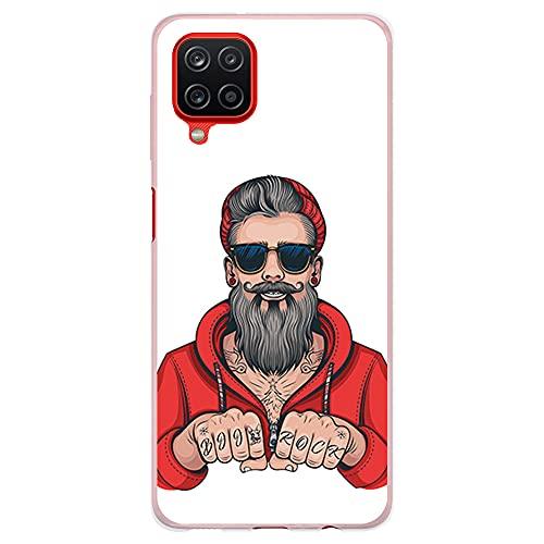 Funda Transparente para [ Samsung Galaxy A12 5G ], Carcasa de Silicona Flexible TPU, diseño: Hombre Hipster, Tatuajes con Barba y Gafas de Sol