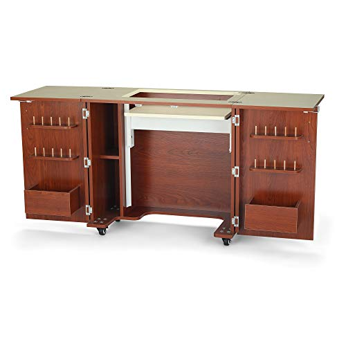 Arrow K8205 Bandicoot II Kangaroo Sewing, Cutting, Quilting, Crafting Cabinet with Sturdy Table Workspace and Storage, Portable with Wheels, Teak Finish