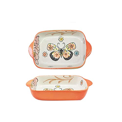 yaunli Bakeware Kreative Keramik Binaural Backform Käse Gebackene Reis Backofen Mikrowellenofen rechteckige Schale...