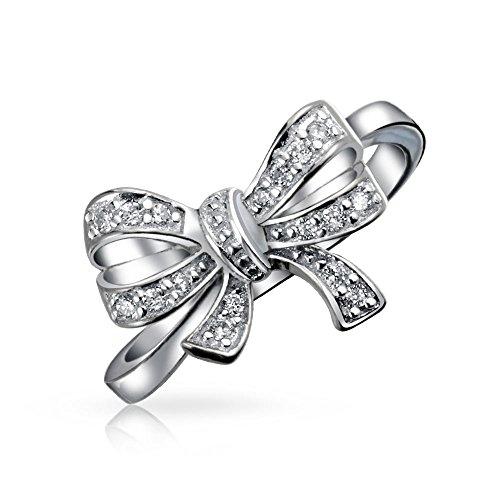 Vintage-Stil Braut Zirkonia Pave CZ Erklärung Schleife Ringe Für Jugendlich Für Damen 925 Sterling Silber