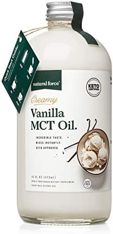 Natural Force Creamy Vanilla MCT Oil Non Dairy Keto Certified Emulsified MCTs for Low Carb Ketogenic product image