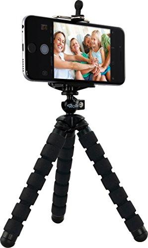 Rollei Selfie Mini - Flexibles Mini Stativ inkl. Kugelkopf und Smartphone-Adapter; robust, stabil, wickelbar, biegbar, mit rutschfesten Gummifüßen - Schwarz