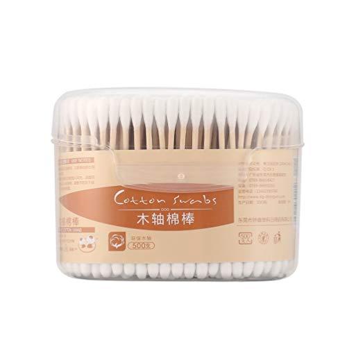 500 Pz/Scatola Tamponi di Cotone Naturale di Dimensioni compatte Bastoncini di Legno Orecchie di Naso Pulizia Cosmetici Sanità Domestica Batuffoli di