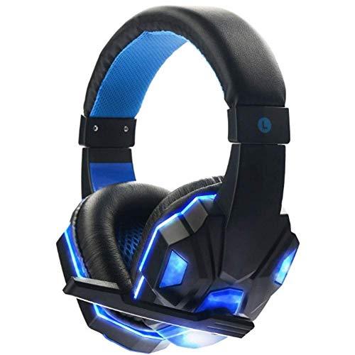 Control remoto de voz con micrófono de 3,5 mm auriculares auriculares auriculares Gamer Estéreo Gaming Auriculares con micrófono LED blanco y azul (color: blanco y azul) ( Color : Black and Blue )