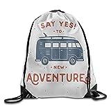 FULIYA Vintage New Adventures Typography with Little Van Hippie Style Life Free Spirit Design Drawstring Bags Running Backpack For Teens College Drawstring Shoulder Bag Backpack String Bags