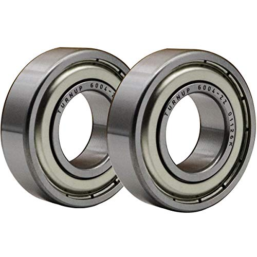 (2 Pcs) TURNUP 6004-ZZ Metal Seal on Both Sides Bearings 20x42x12mm,Pre-Lubricated Deep Groove Ball Bearings,Stable Performance.