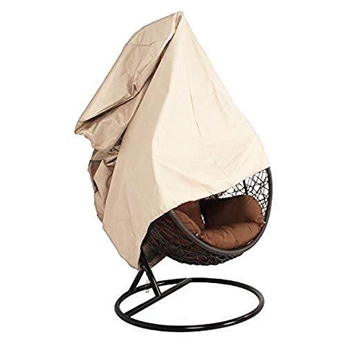 SUPEWOLD Terrasse Wandbehang Stuhl Abdeckung 420D Oxford Stoff Wasserdicht Veranda Terrasse Cocoon Ei Stuhl Gartenmöbel Schutzhülle mit Elastisch Saum und Zugschnur - Beige