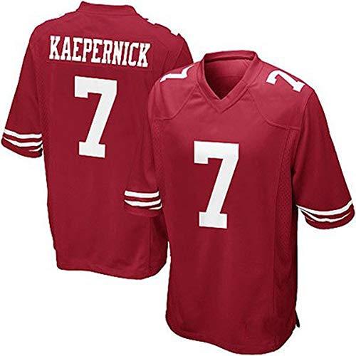 Rugby Jersey 49ers 7# Kaepernick Bestickt T-Shirt Herren Kurzarm Casual Sportswear Profi Funktionsshirt Weicher Feuchtigkeitstransport Atmungsaktiv Einfach Gr. S, rot