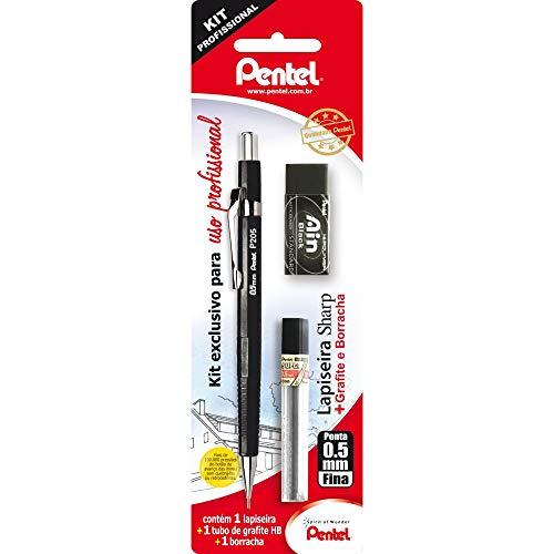 Lapiseira Sharp P200 + Grafite + Borracha Ain Black, Pentel, Preto, 0.5 Mm, Pacote De 1