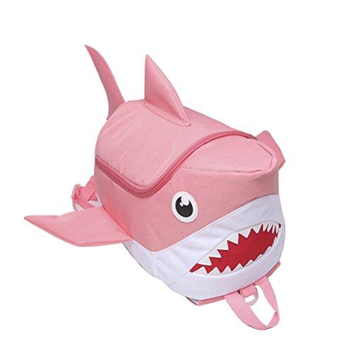 OULII Mochila Infantil Animal Tiburón 3D (Rosa)