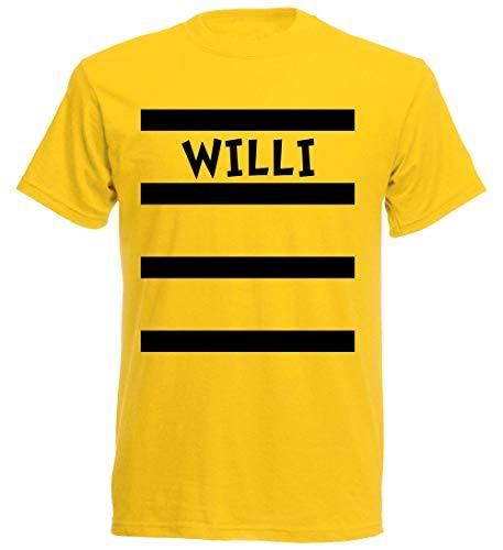 aprom Willi T-Shirt Karneval in Kostüm Form mit Bienen Design Gruppenkostüm Fasching, Gelb, XXL