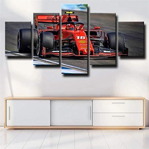 Decoración De Arte De Pared 5 Piezas Imprime En Lienzo Fórmula 1 FERRAR 16 Número HD Cuadro Estilo Abstractos Moderna Inicio Decoración Lienzos 150×80Cm Listo para Colgar Marco