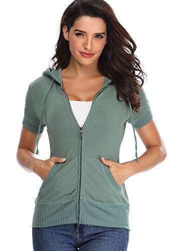 MISS MOLY Damen Kurzarm Kapuzenpullover Sweatjacke Hoodie Sweatshirt mit Reissverschluss Grün X-Small