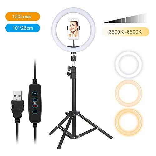 Galapara Luz de Anillo DC5V 7W LED Regulable con Soporte 3-Colors 360 Rotary USB Powered Streaming Light para Vlogging Youtube Video Shooting Maquillaje Selfie, 10 niveles Brillo ajustable Regulable