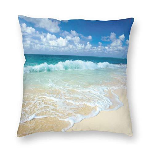 Playa con ondas espumosas en la orilla del mar vacía, tema de vacaciones sereno costero terciopelo suave, decorativa cuadrada, funda de almohada para salón, sofá o dormitorio con cremallera invisible de 20 x 20 pulgadas