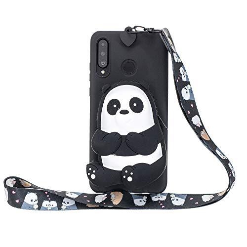 WIWJ Hülle für Huawei P30 Lite HandyHülle Ultra Dünn Silikon Necklace Tiere Case[Wallet] mit Kordel Schutzhülle 360 Stoßfest Wasserdicht mit Band Mädchen Tasche Handykette-Schwarz Bär