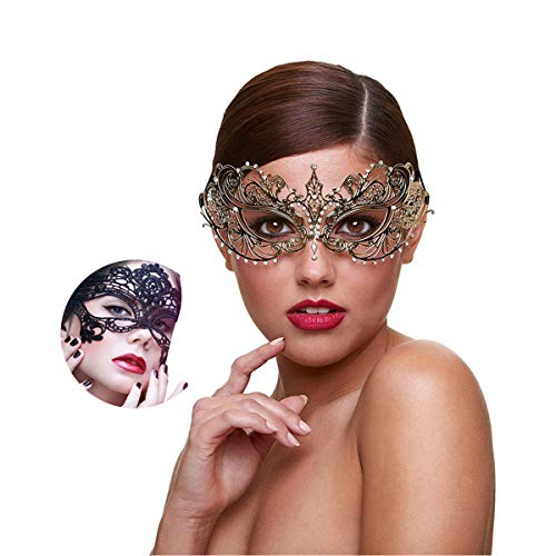Masquerade Mask for Women Shiny Rhinestone Venetian Party Prom Ball Metal Mask (Golden Butterfly)
