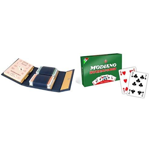 Modiano Astuccio In Similpelle Blu 2 Mazzi Burraco & Burraco 100Percentplastica, 300369