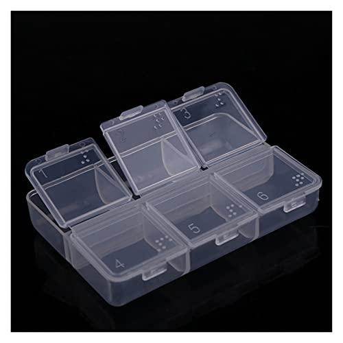 caja de almacenaje Mini 6 cuadrícula Píldora de plástico Caja de medicina impermeable Pequeño medicina Tenedor de pecho Organizador de almacenamiento Caso de contenedor Portable Durable y ahor