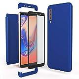 NALIA 360 Grad Handyhülle kompatibel mit Samsung Galaxy A7 2018, Full-Cover und Glas vorne hinten Hülle Doppel-Schutz, Dünn Ganzkörper Hülle Etui Handy-Tasche, Bumper und Bildschirmschutz, Farbe:Blau