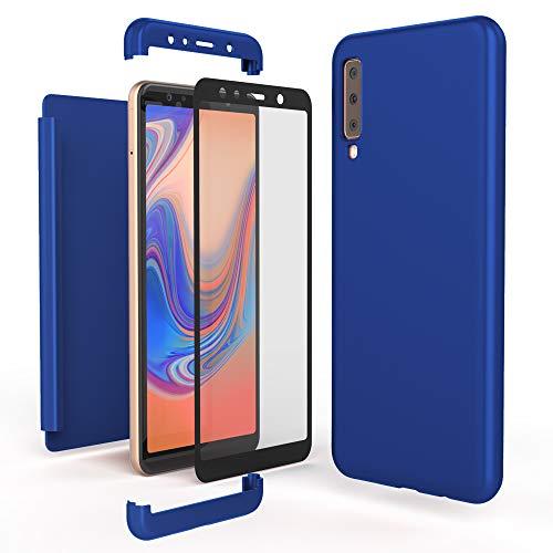 NALIA 360 Grad Handyhülle kompatibel mit Samsung Galaxy A7 2018, Full-Cover & Glas vorne hinten Hülle Doppel-Schutz, Dünn Ganzkörper Case Etui Handy-Tasche, Bumper & Displayschutz, Farbe:Blau