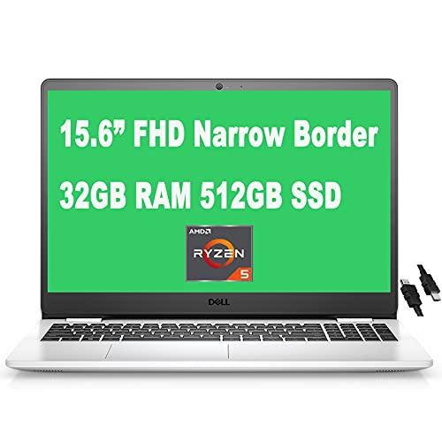 "2021 Flagship Dell Inspiron 15 3000 3505 Laptop 15.6"" FHD Narrow Border WVA Display AMD 4-Core Ryzen 5 3450U Processor 32GB RAM 512GB SSD MaxxAudio Win10 (Snow White) + iCarp HDMI Cable"