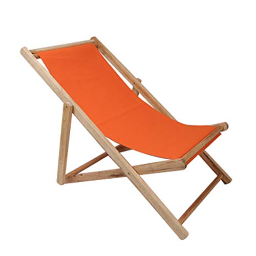 HIOD Folding Chair Outdoor Solid Wood Recliner Bed Portable Breathable Garden Patio Lounge Beach Sun Lounger,Orange