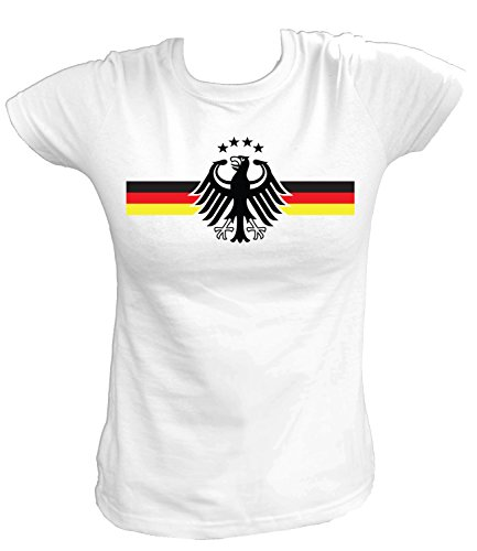 Artdiktat Damen Deutschland Fan T-Shirt - Deutschland Trikot zur Fussball Meisterschaft 2014 Brasilien - Wunschname und Nummer Größe M, weiß