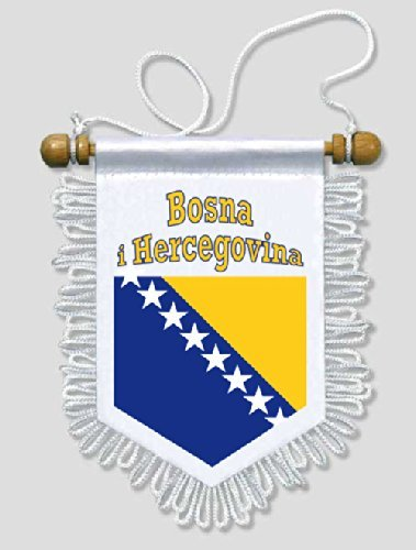 KOO Interactive - Bosnien und Herzegowina - 13 x 15 cm - Auto Wand Fahne Flagge Wimpel