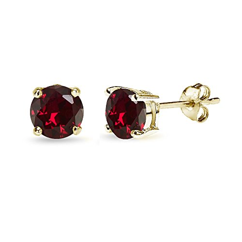 Yellow Gold Flashed Sterling Silver Synthetic Ruby 6mm Round-Cut Solitaire Stud Earrings
